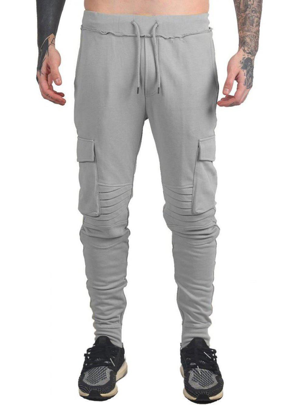 Drawstring Ruched Tapered Sports Pants - LIGHT GRAY 3XL
