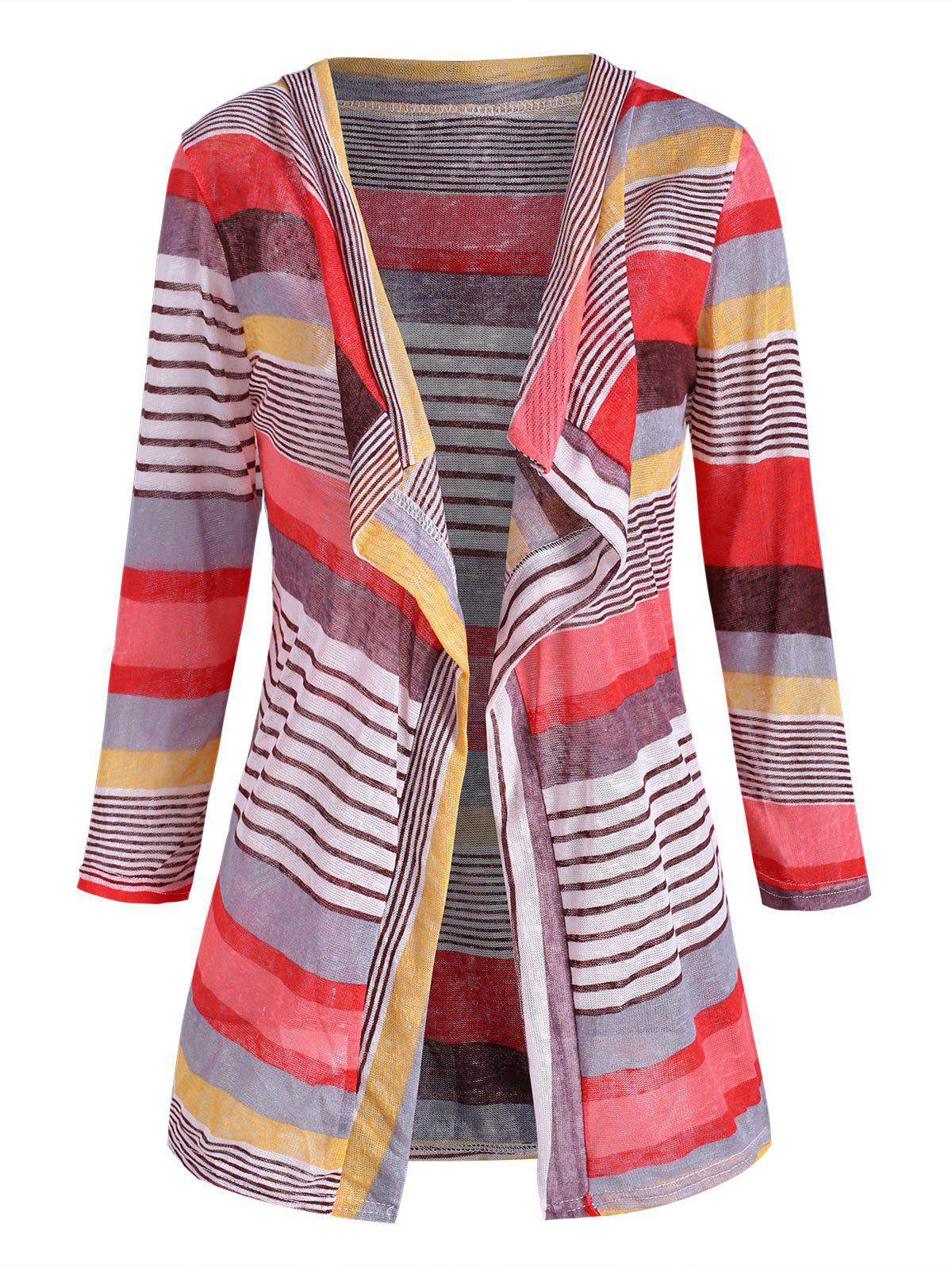 Open Front Mixed Stripes Cardigan - multicolor XL