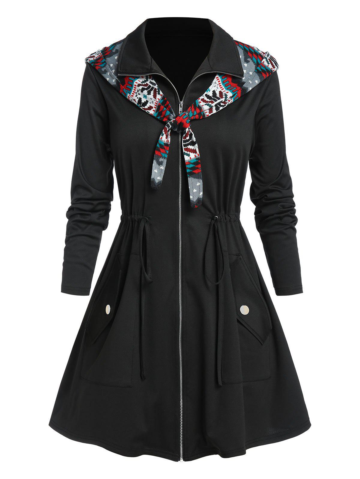 Plus Size Print Hooded Zip Up Drawstring Waist Coat - multicolor A 2X