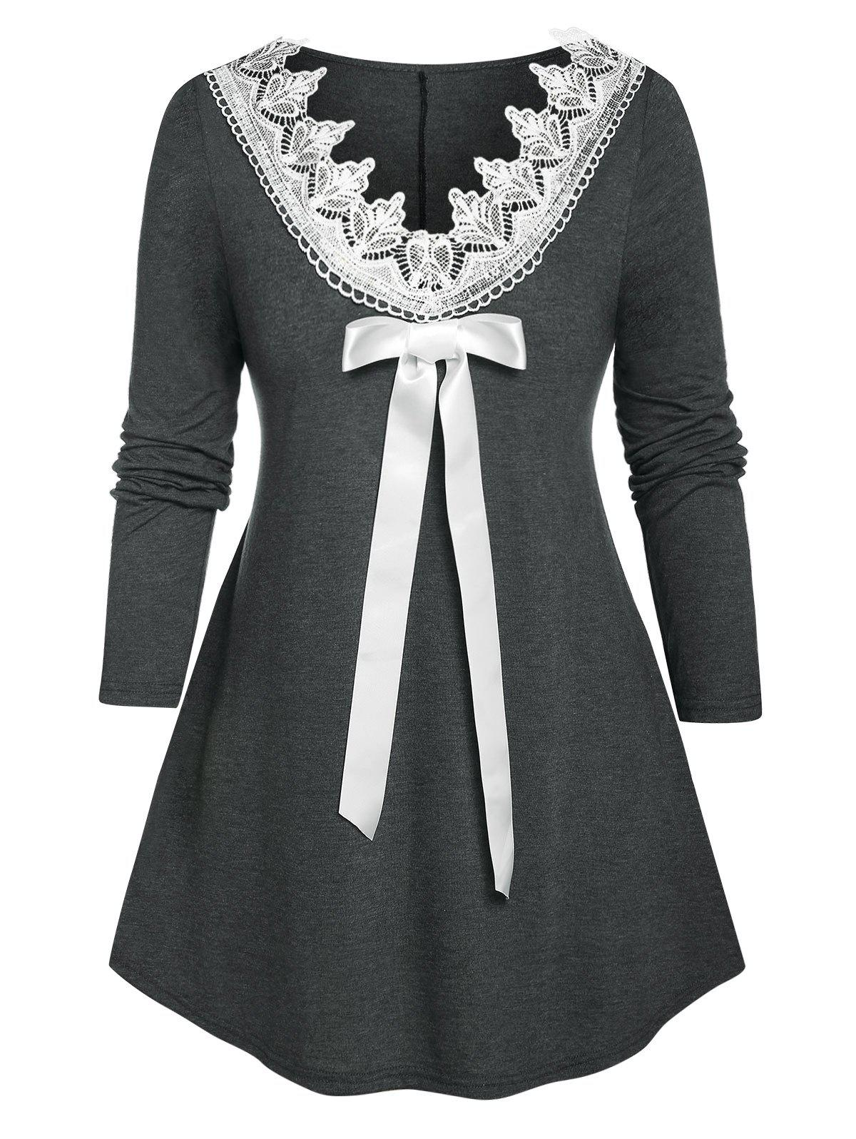 Plus Size Guipure Lace Bowknot Long Sleeve Tee - DARK SLATE GREY 5X