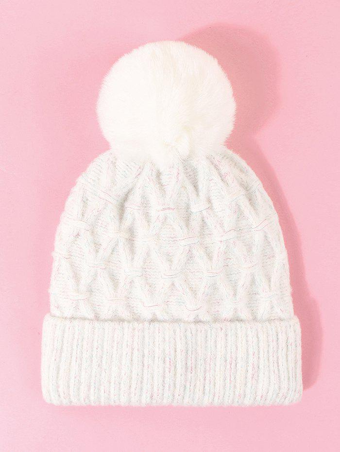 Rhombus Turn Up Edge Knitted Bubble Hat - MILK WHITE