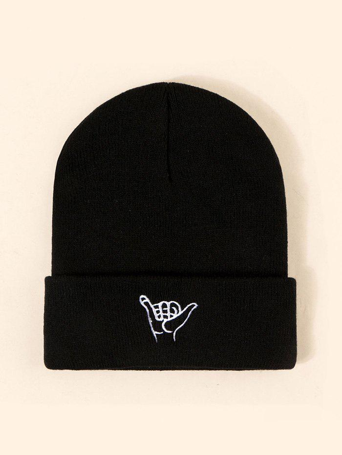 Gesture Embroidery Pattern Knitted Hat - BLACK