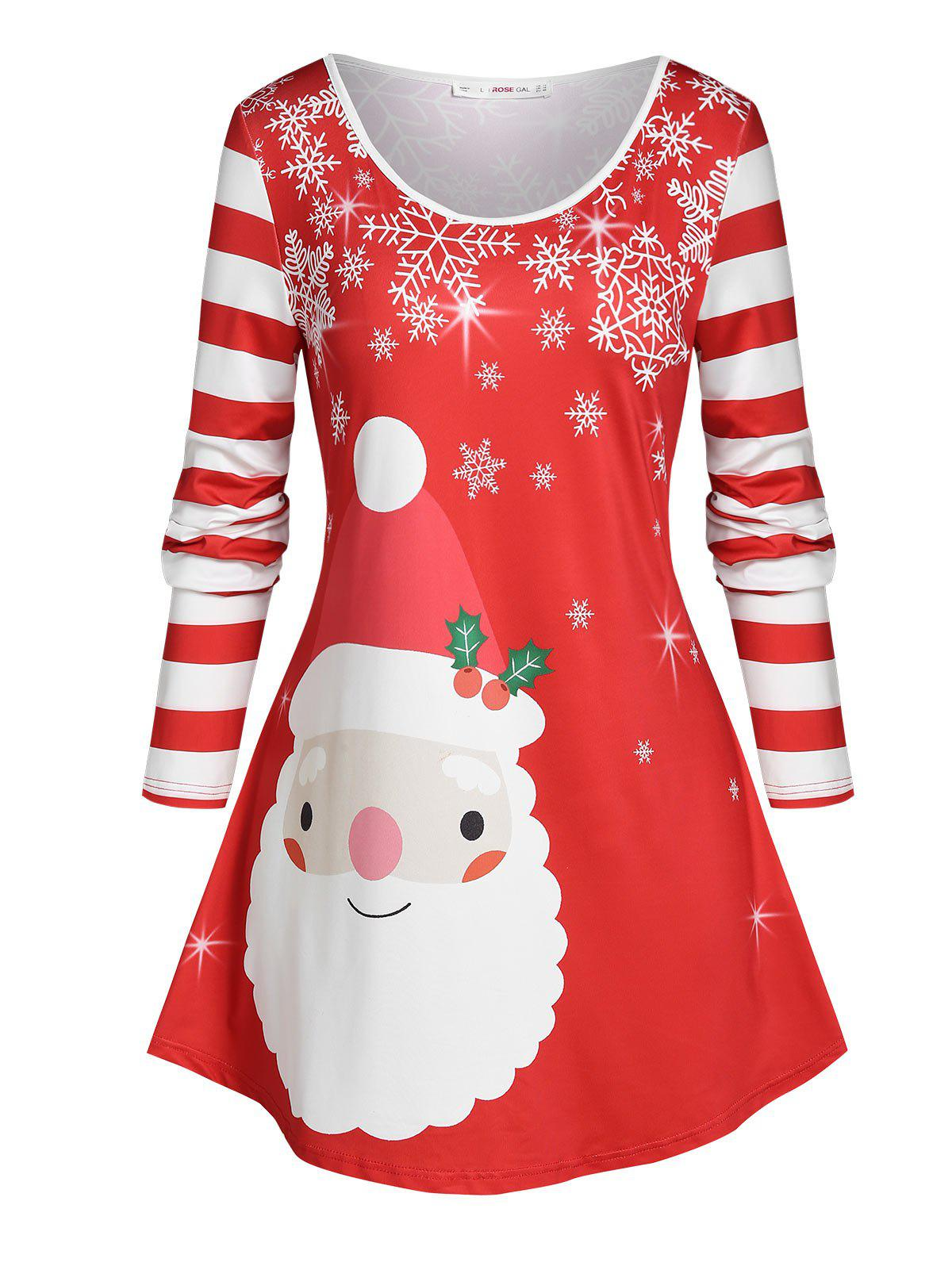 Plus Size Striped Christmas Snowflake Long Sleeve Tee - RED 5X