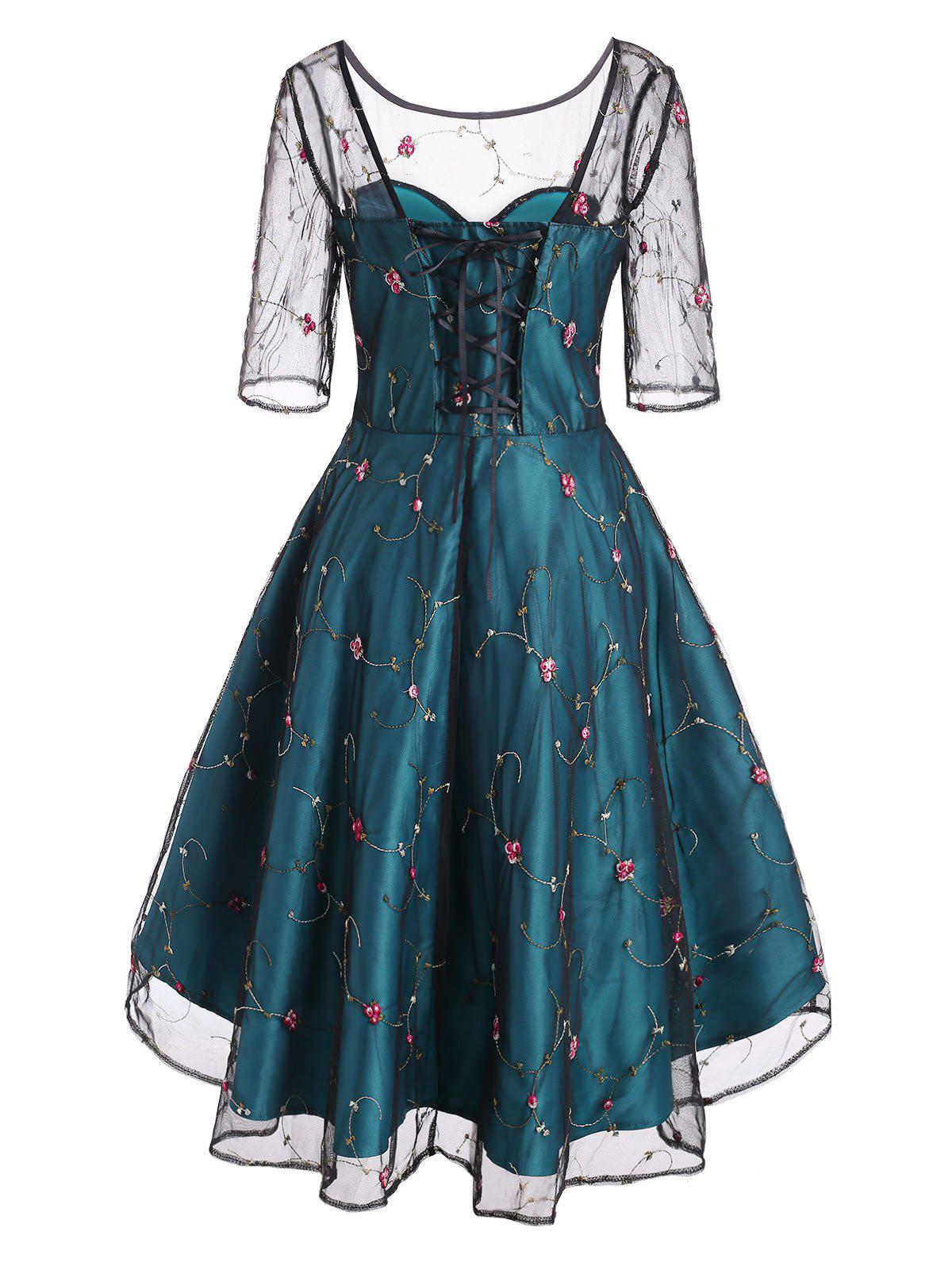 Flower Embroidered Mesh Overlay Lace Up Party Dress - multicolor XL