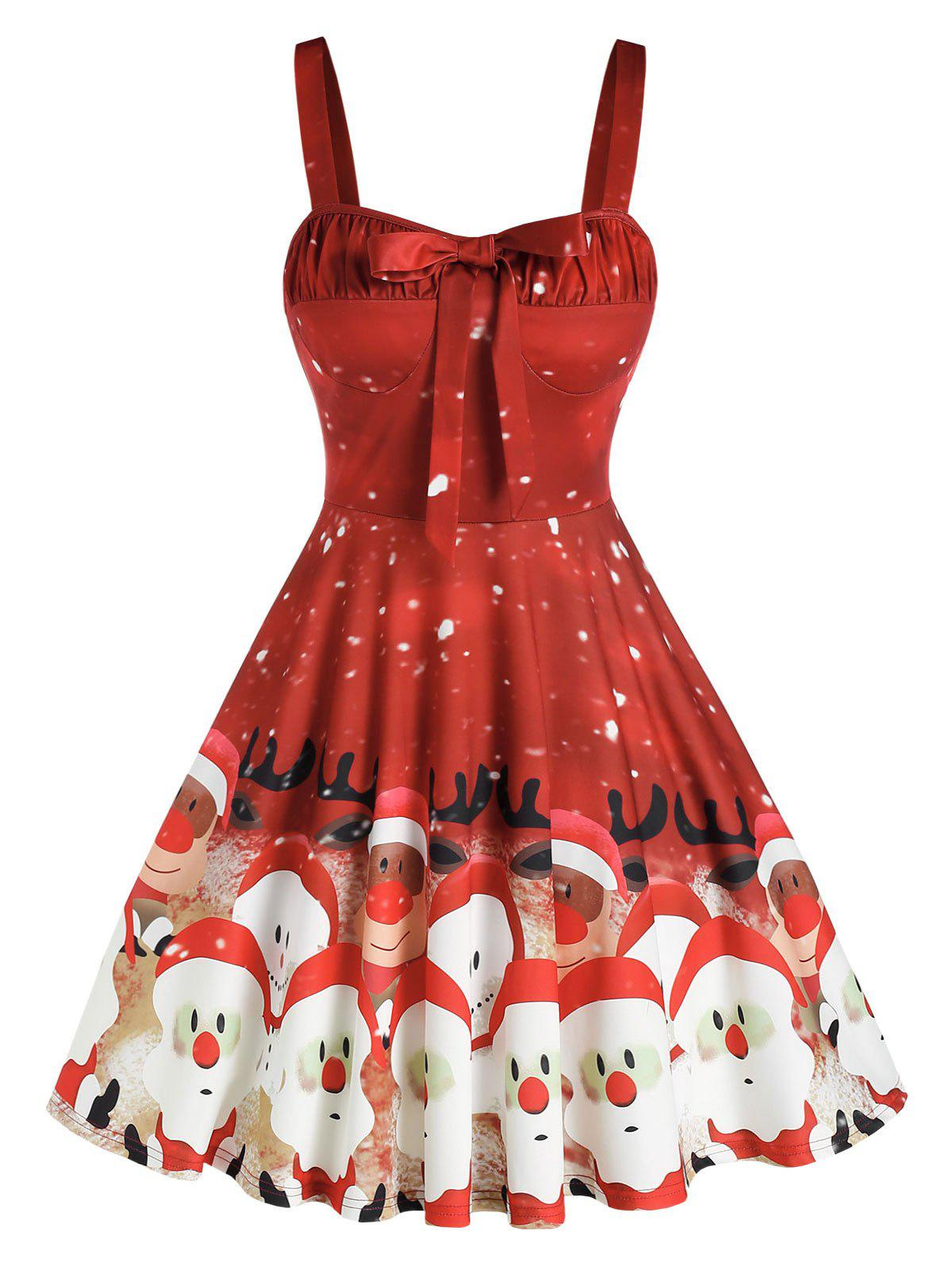 Santa Elk Pattern Bowknot A Line Dress - RED L