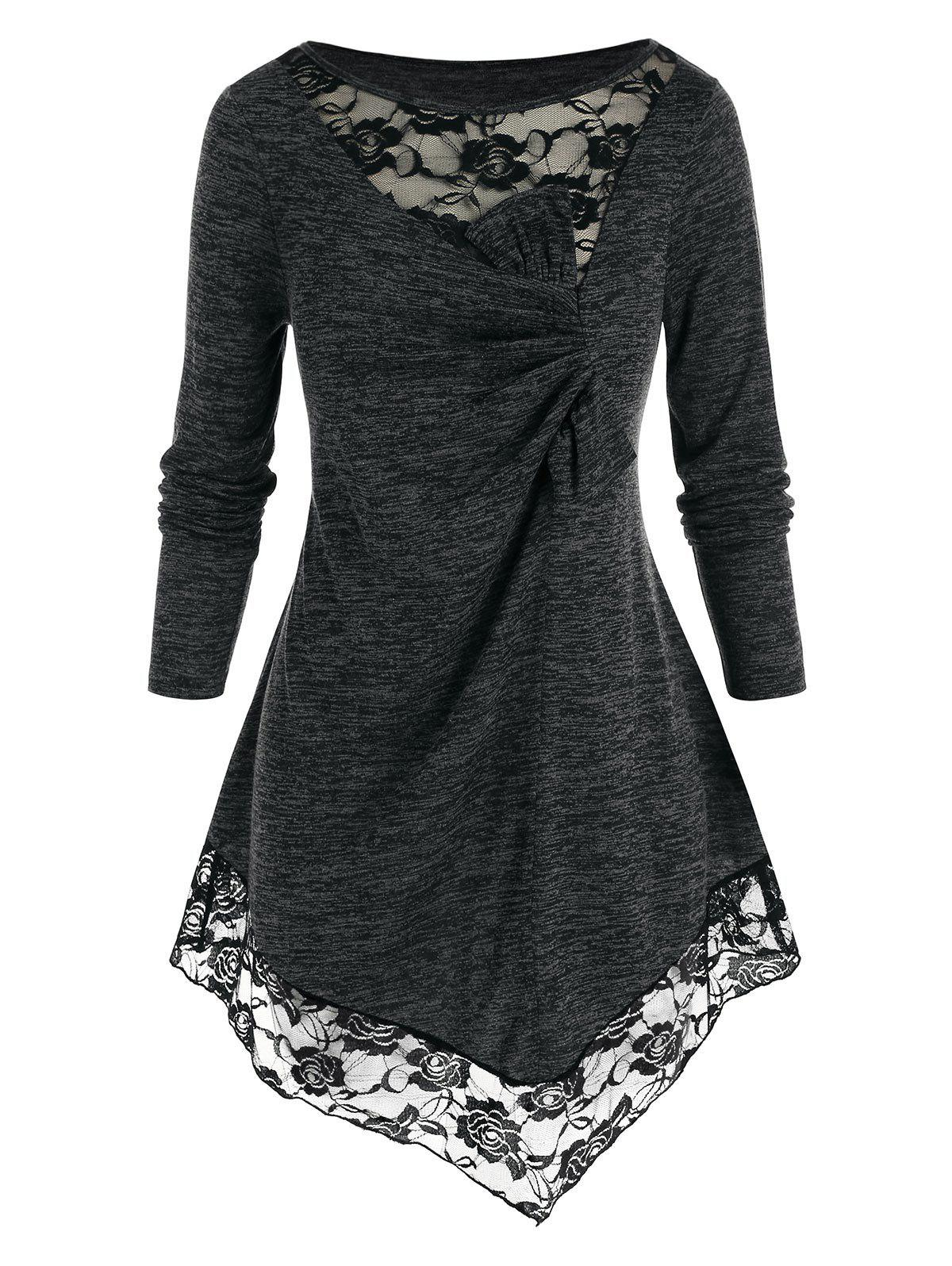 Plus Size Space Dye Lace Insert Asymmetric Tunic T-shirt - BLACK 3X