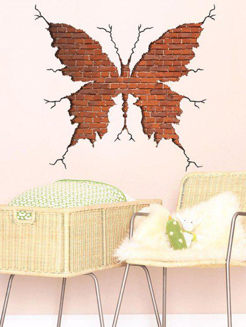 3D Wall Crack Butterfly Print Room Background Wall Sticker
