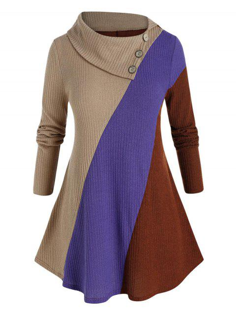 Plus Size Ribbed Colorblock Foldover Collar Sweater
