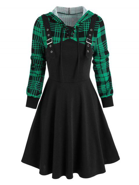 Hooded Plaid Print Lace-up Buckle Strap Dress