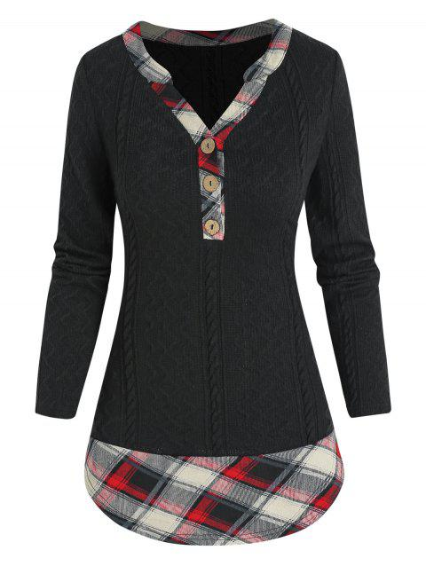 Plaid Print Henley Faux Twinset Sweater