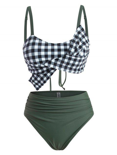 Bowknot Lace-up Ruched Gingham Tankini Swimwear