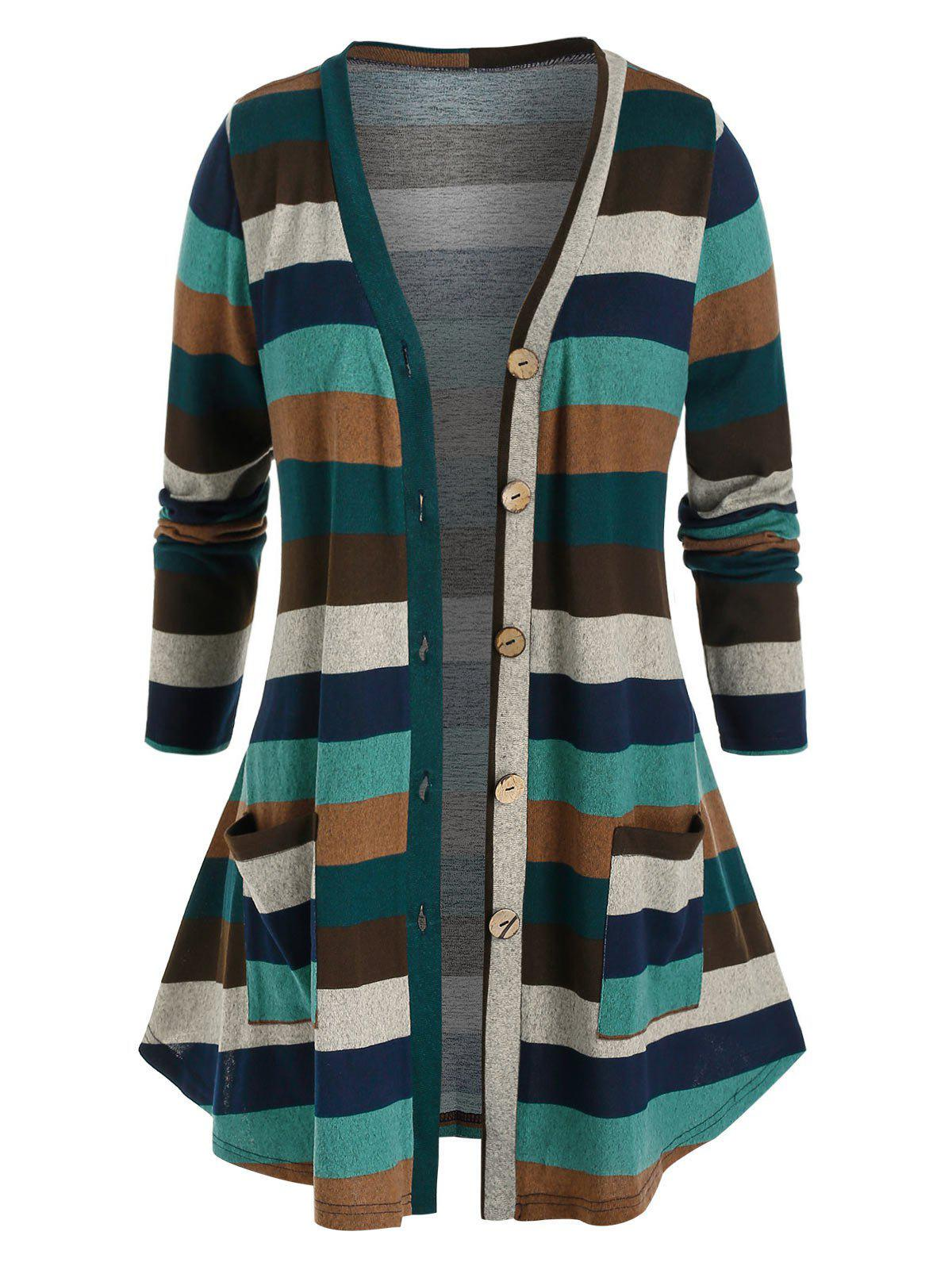Plus Size Striped Pocket Single Breasted Knit Cardigan - multicolor 4X