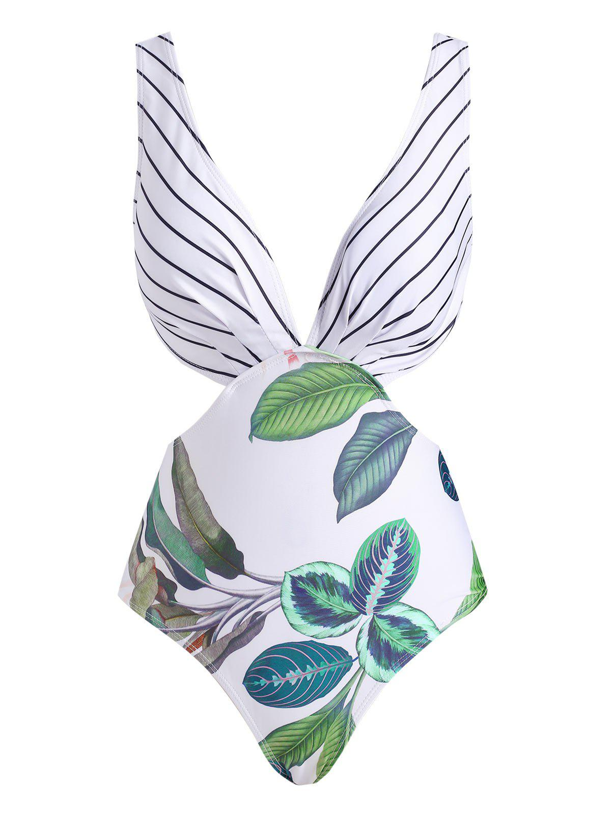 Leaf Striped Plunging Backless One-piece Swimsuit - WHITE L
