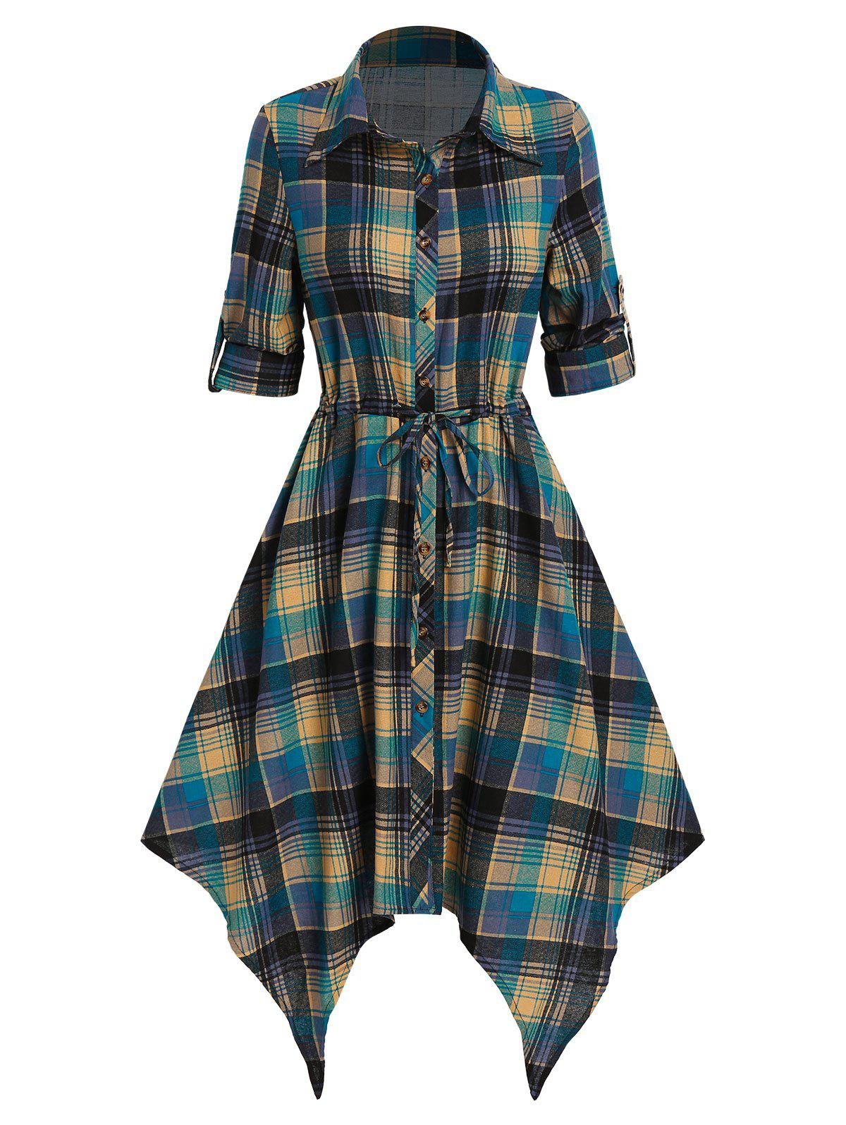 Plaid Print Drawstring Irregular Shirt Dress - multicolor B XL