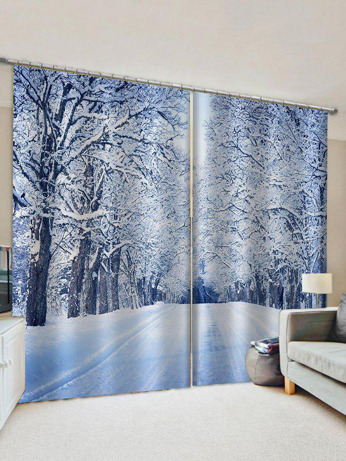 2 Panels Snowy Path Tree Print Window Curtains - multicolor W33.5 X L79 INCH X 2PCS