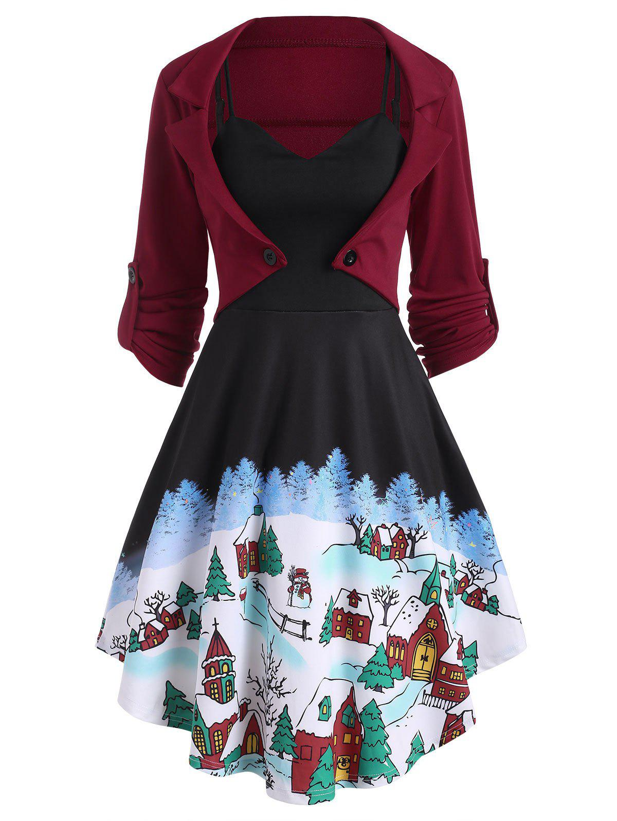 Christmas Snow Print Cami Dress with Bolero Jacket - BLACK S