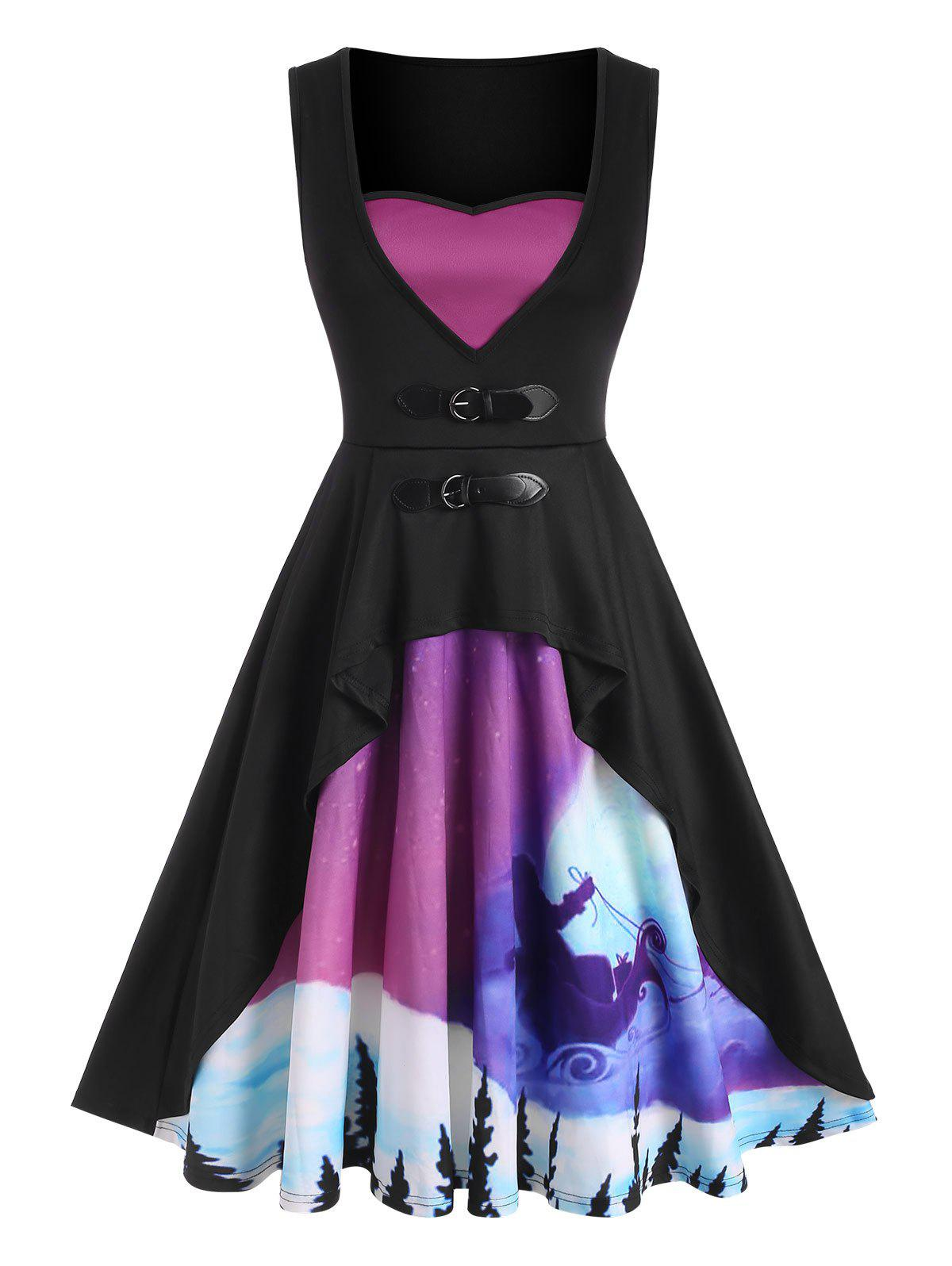Christmas Print Buckled Fit and Flare Dress - PURPLE XXL