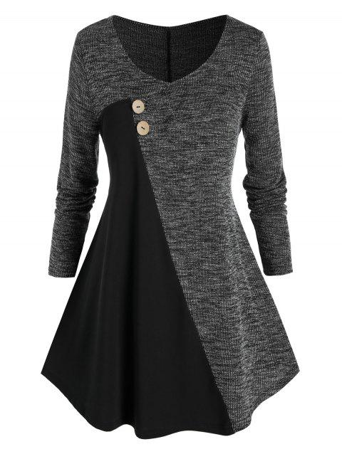 Plus Size Marled Contrast A Line Sweater