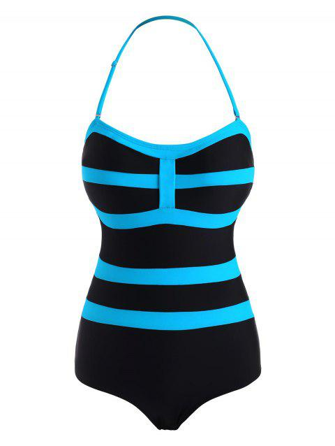 Two Tone Striped Halter One-piece Swimsuit