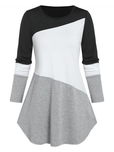 Colorblock Curved T Shirt