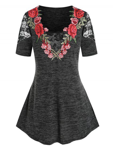 Plus Size Flower Lace Embroidery T Shirt