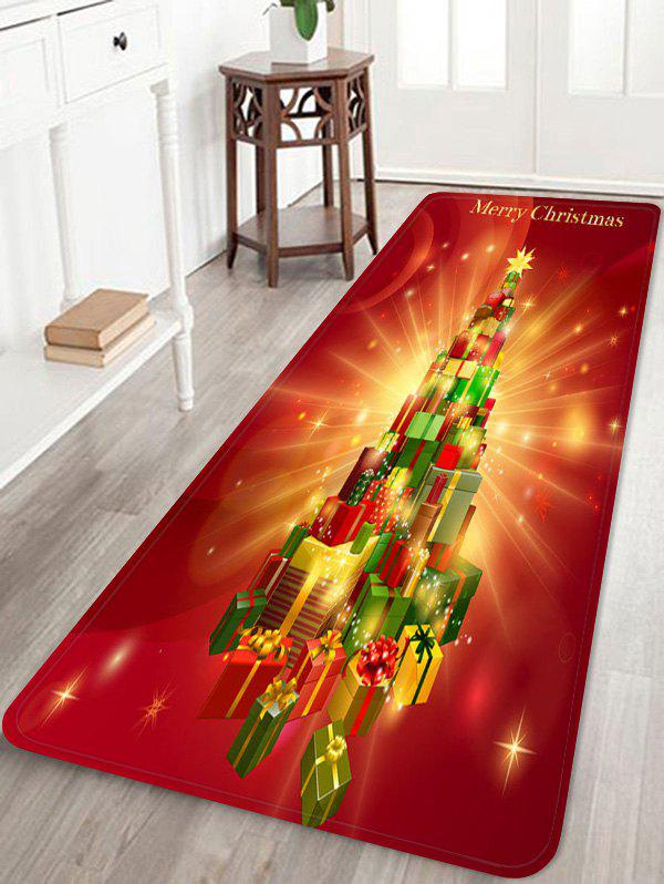 Gifts Christmas Tree Print Home Floor Mat - BEAN RED W24 X L71 INCH