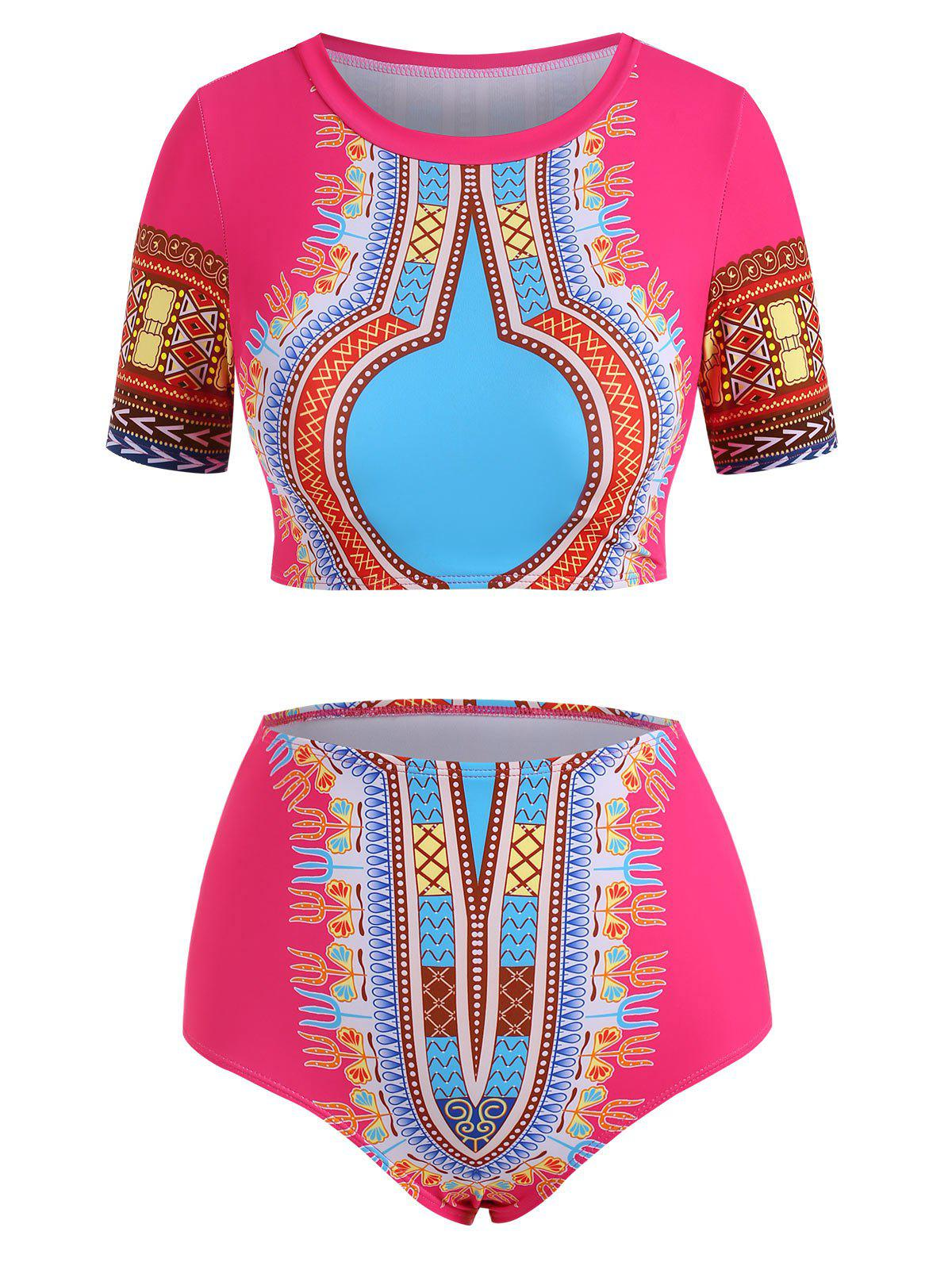 African Printed Two Piece Swimsuit - LIGHT PINK L