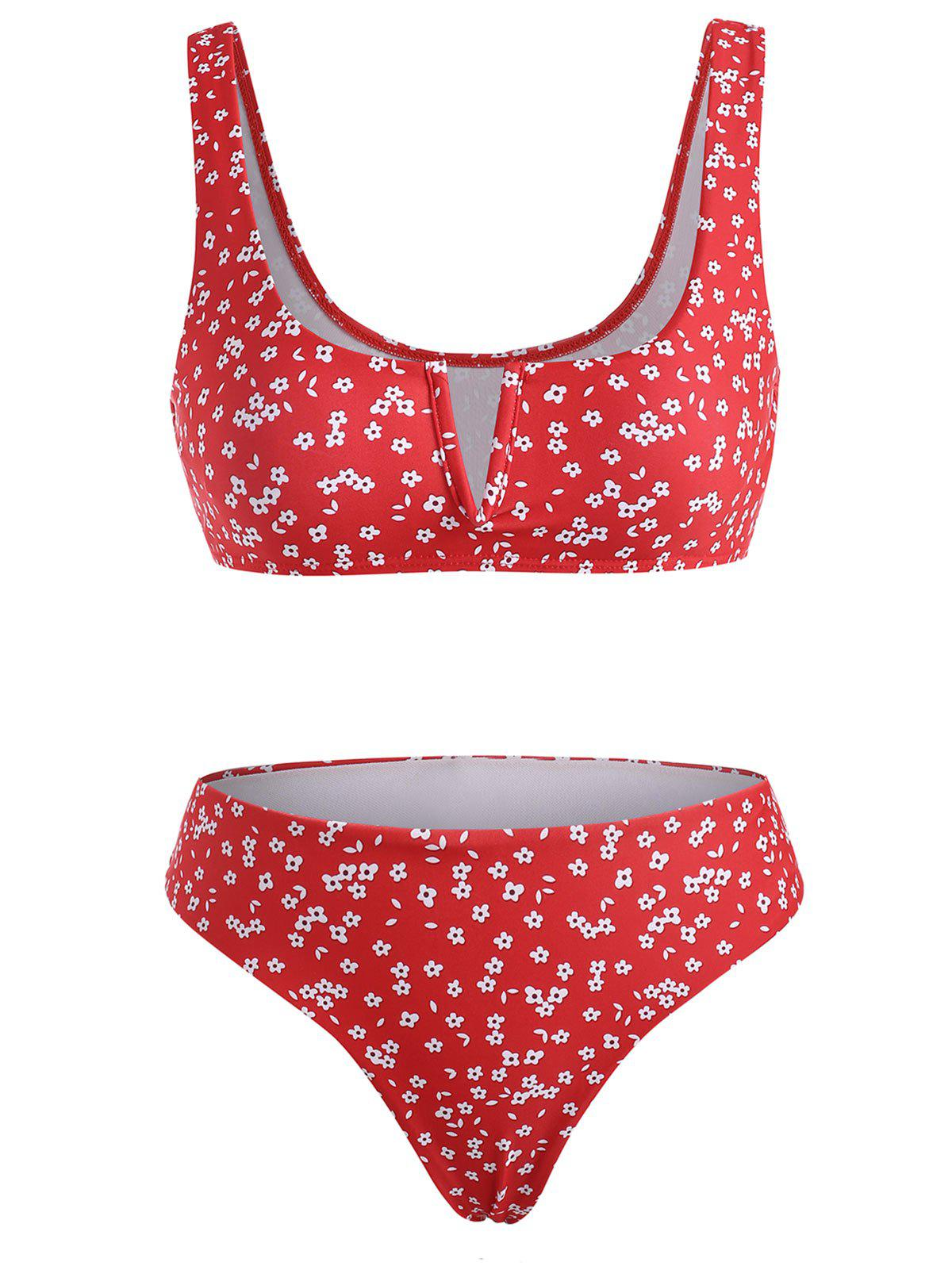 Ditsy Print V Wired Tank Bikini Swimwear - RED L
