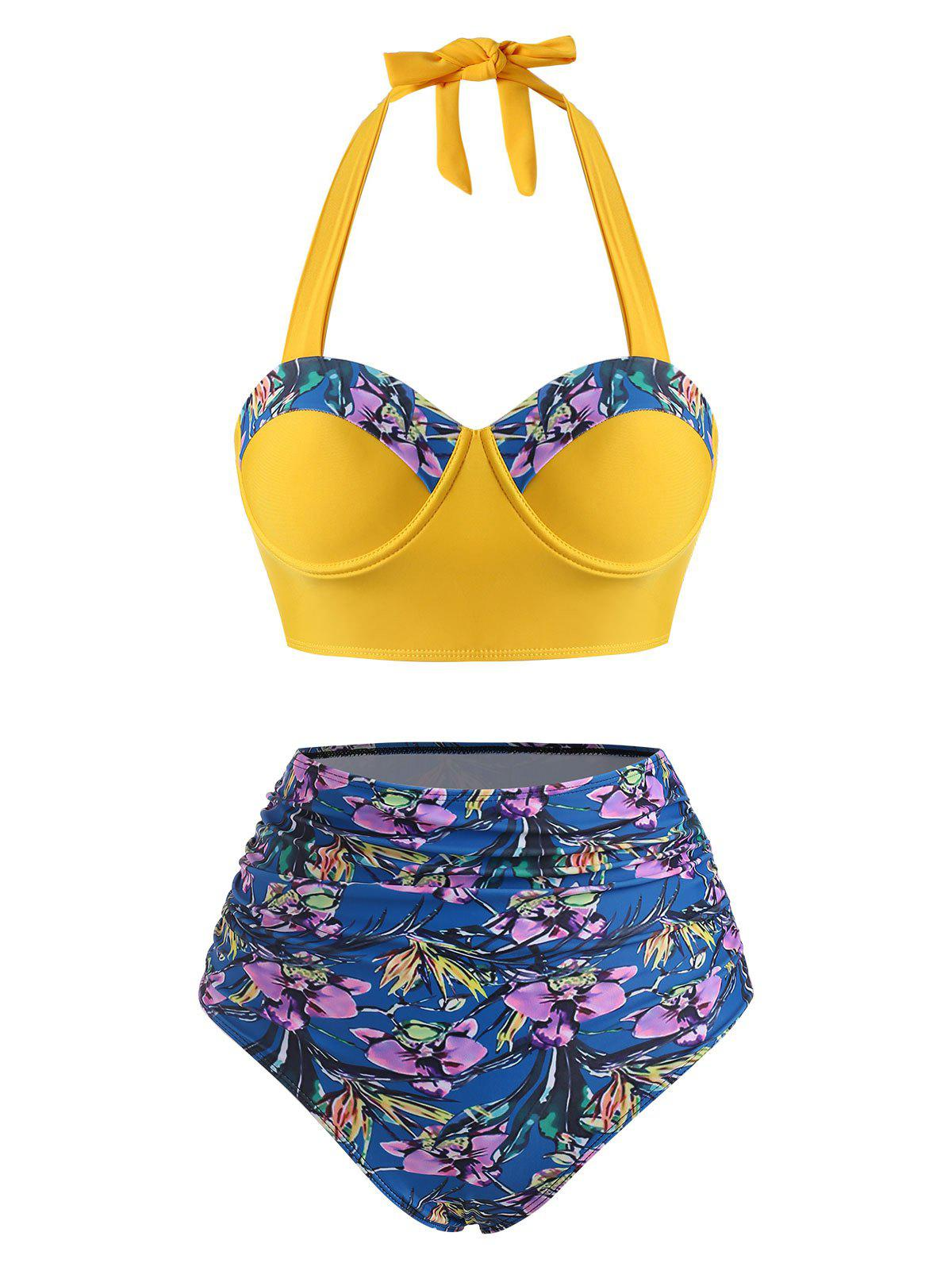 Flower Print Moulded Halter Tummy Control Tankini Swimwear - DEEP BLUE S