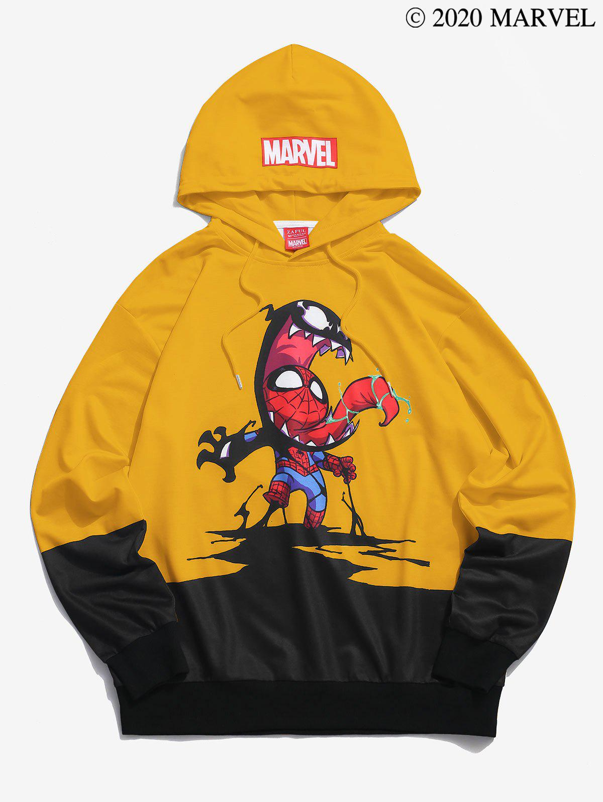 Marvel Spider-Man And Venom Graphic Casual Drawstring Hoodie - BRIGHT YELLOW L