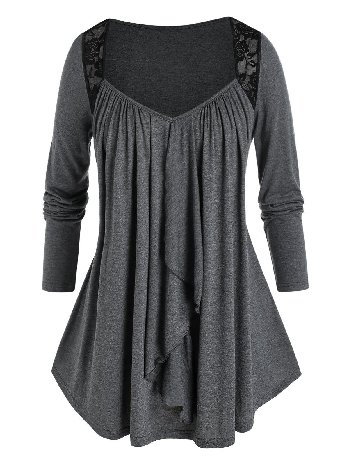 Plus Size Lace Panel Draped T Shirt - ASH GRAY L