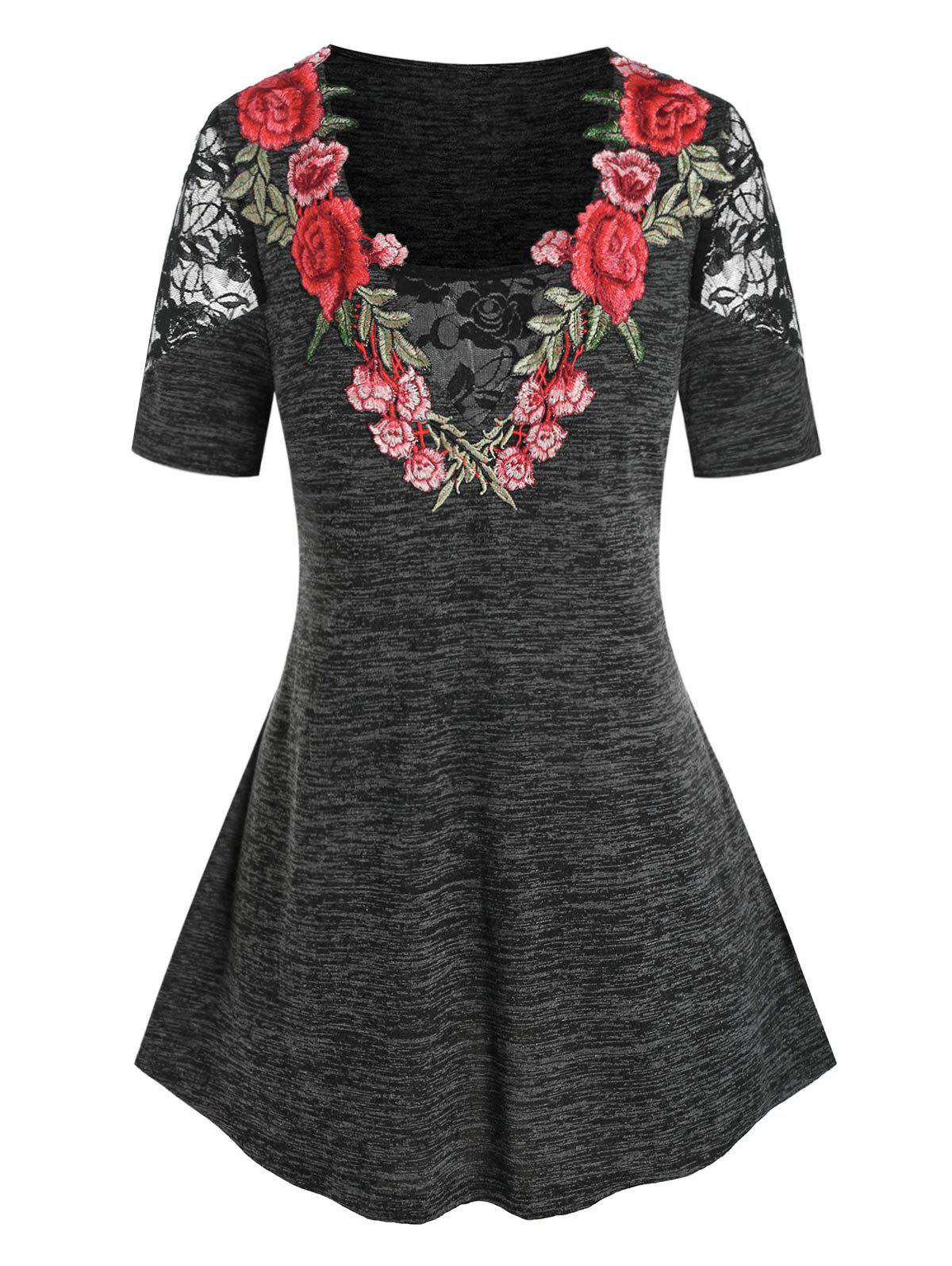 Plus Size Flower Lace Embroidery T Shirt - BLACK 5X