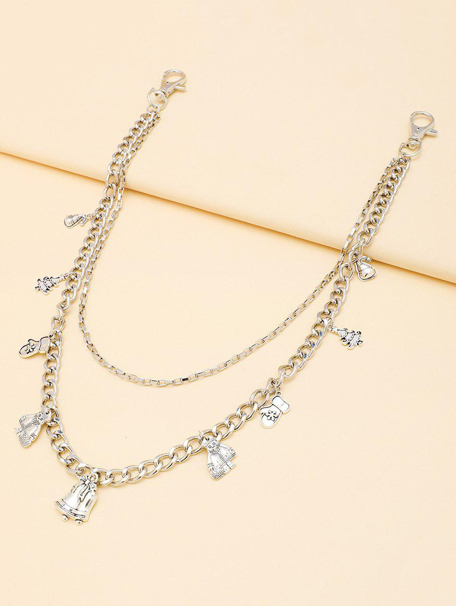 Christmas Tree Gloves Pendant Layered Trousers Chain - SILVER