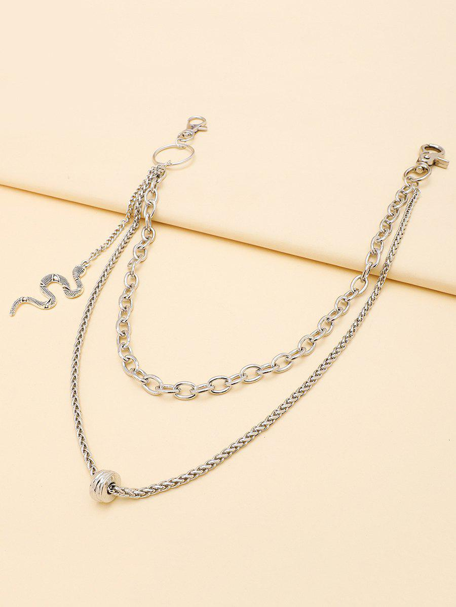 Snake Shape Pendant Layered Trousers Chain - SILVER