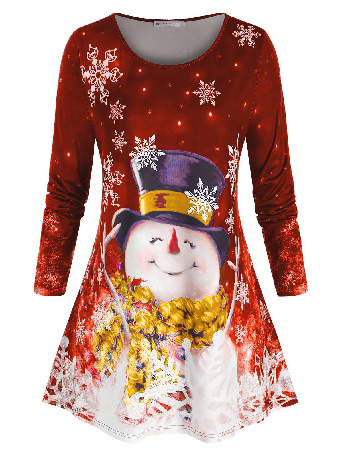 Plus Size Snowflake Snowman Print Christmas T Shirt - VALENTINE RED 1X