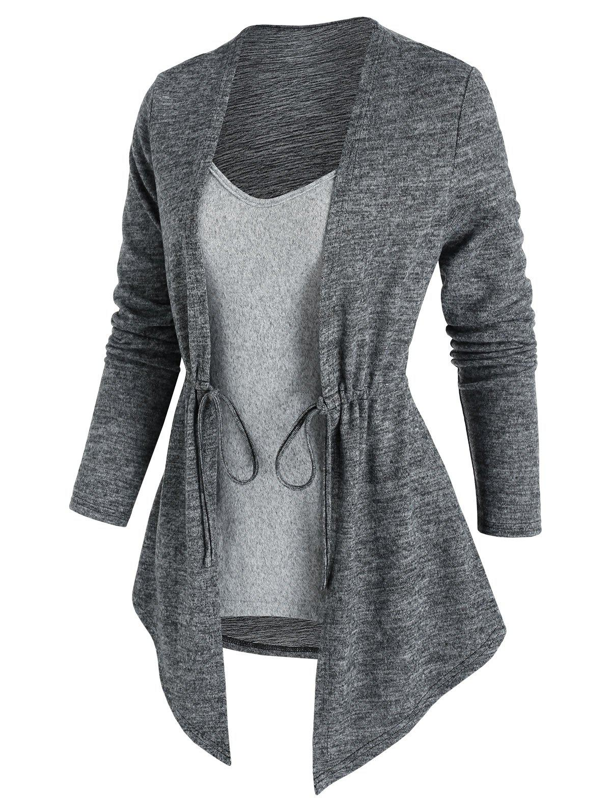 Cinched Contrast Heathered Faux Twinset Sweater - GRAY CLOUD M