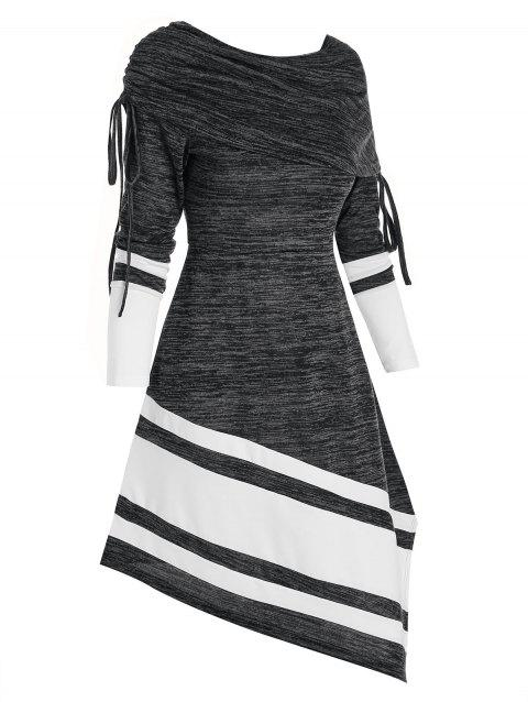 Striped Cinched Foldover Asymmetrical Long Sleeve Dress