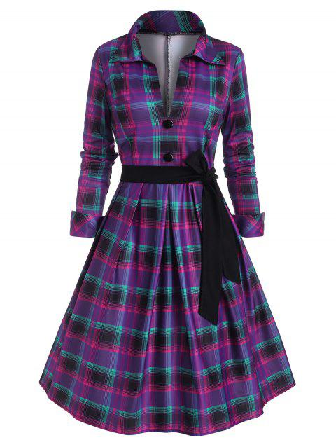 Tartan Mock Button Belted Dress