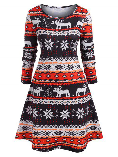 Plus Size Snowflake Print Christmas T Shirt Dress