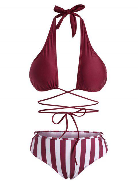 Striped Cutout Cross Wrap Bikini Swimwear