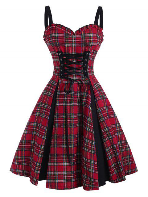 Plaid Lace Up Ruffle Sweetheart Dress