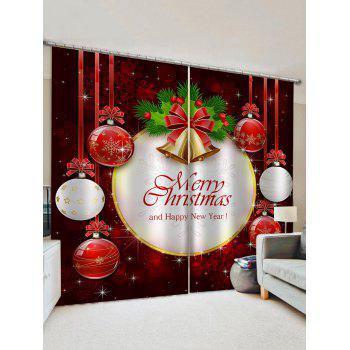 2 Panels Christmas Bell Letters Print Window Curtains