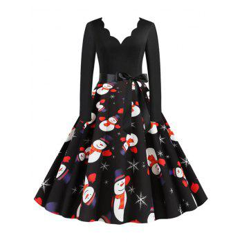 Christmas Snowman Snowflake Scalloped Belted Vintage Dress
