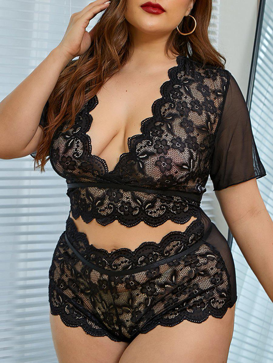 Plus Size Low Cut Sheer Lace Mesh Lingerie Set - BLACK 3XL