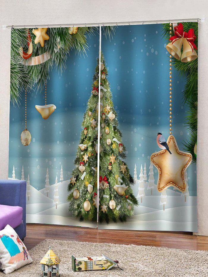 3D Digital Print Christmas Star Waterproof Curtains - multicolor W30 X L65 INCH X 2PCS