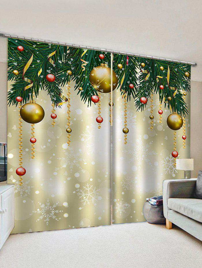 2 Panels Christmas Tree's Ball Waterproof  Window Curtains - multicolor W30 X L65 INCH X 2PCS