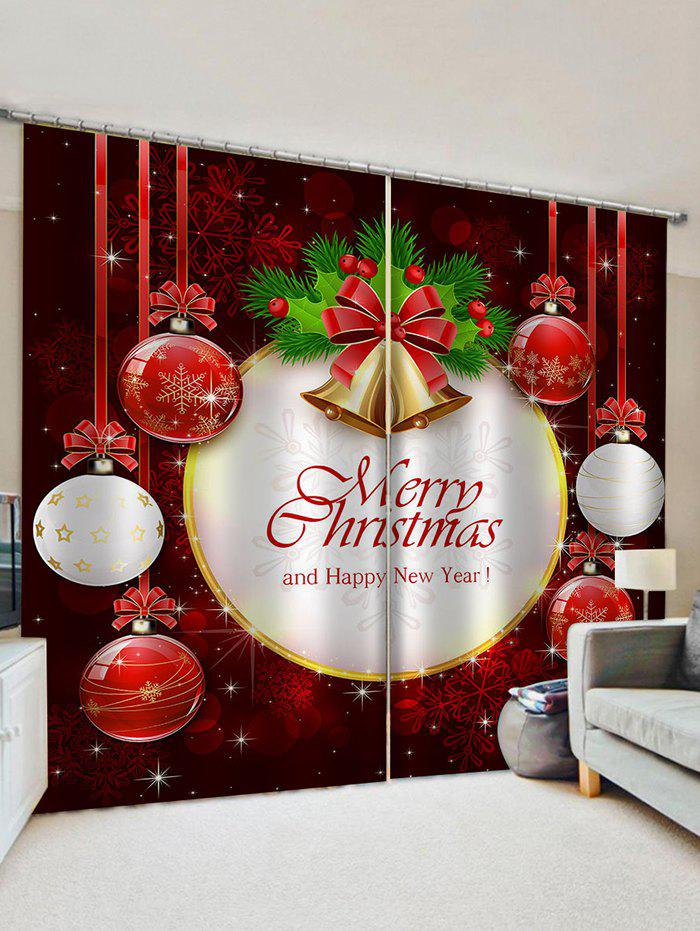 2 Panels Christmas Bell Letters Print Window Curtains - multicolor W33.5 X L79 INCH X 2PCS