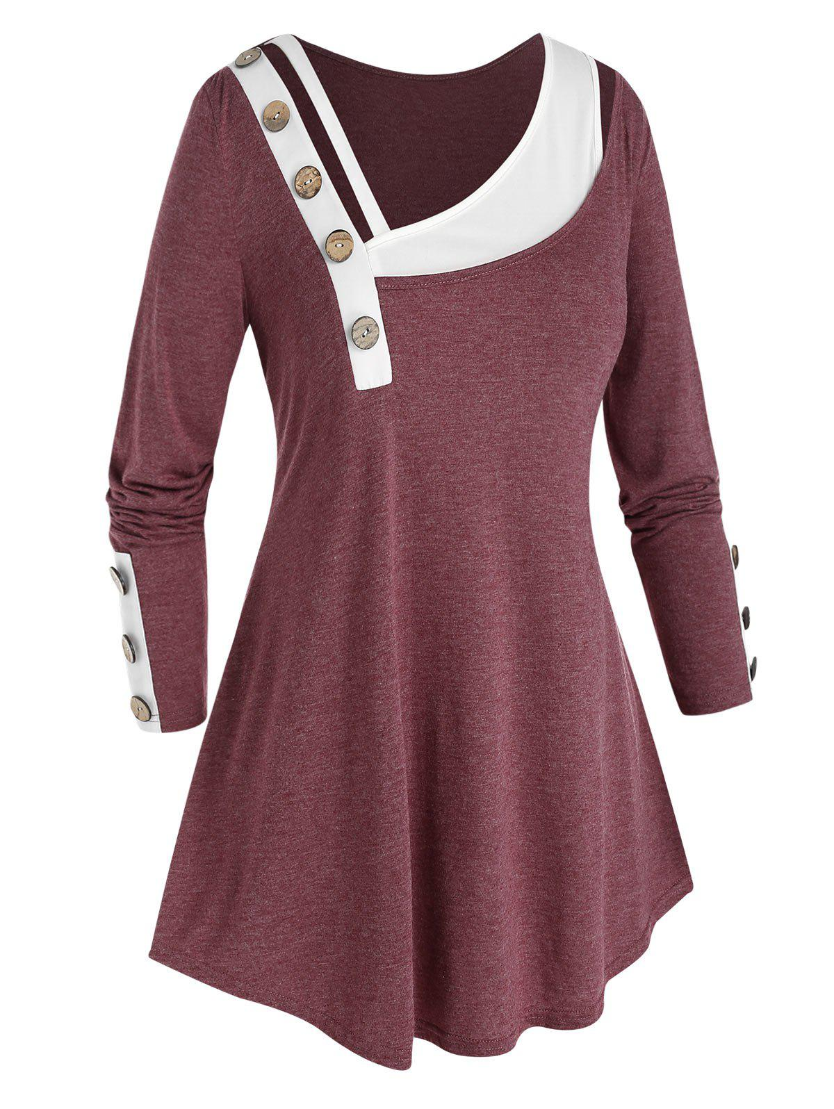 Plus Size Skew Neck Paneled Mock Button T Shirt - RED WINE 3X