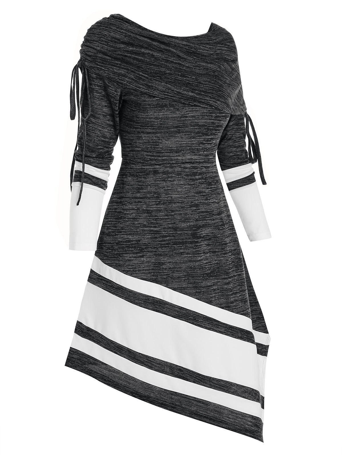 Striped Cinched Foldover Asymmetrical Long Sleeve Dress - BLACK S