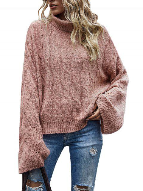 Turtleneck Cable Knit Pointelle Knit Sweater